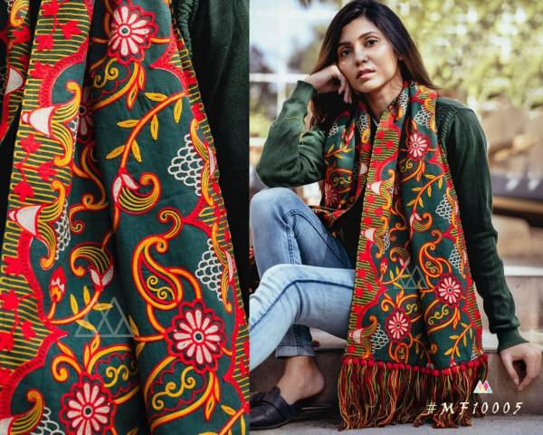 Mesmora Latest Winter Collection of 100% Embroidered Khadi Mufflers Decorated With Long Woollen Laces And Pompom Laces