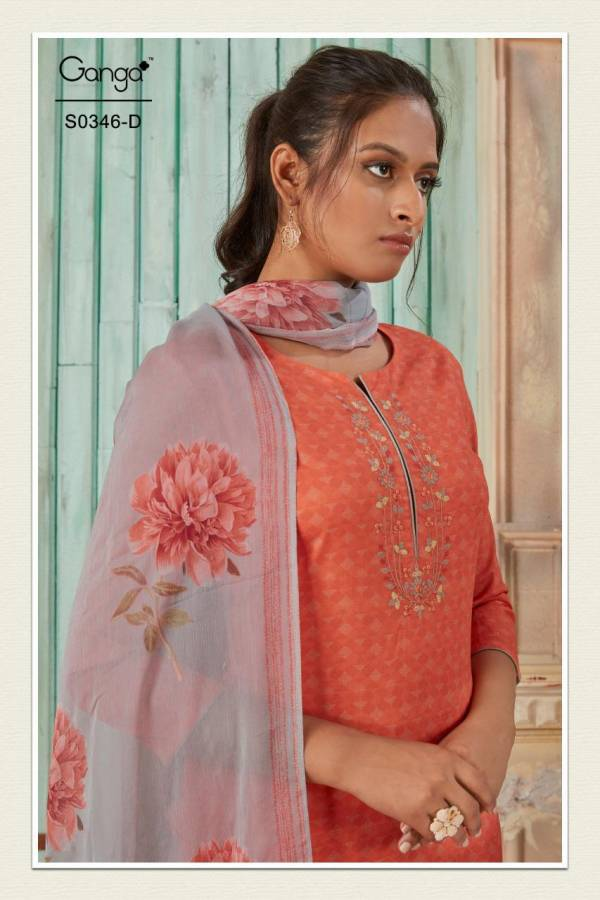 GANGA HANA S-346 Latest fancy Heavy Casual Wear Superior Lawn Cotton Printed with Embroidery Work Salwar Suit Collection