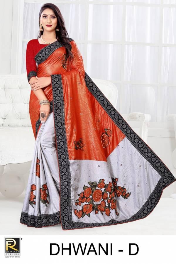 Ronisha Dhwani Designer Fancy Festive Wear Embroidery Saree Collection