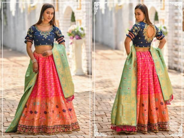 Latest Designer Banarasi Silk Resham Zari And Dori Work Bridal Lehenga Collection