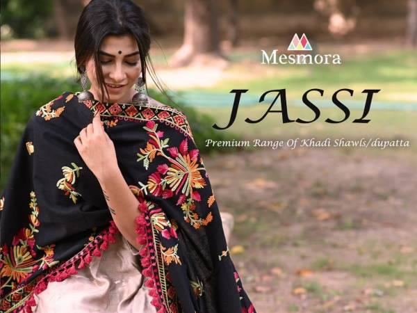 Mesmora Khadi Embroidered Shawls/Dupatta Collection With Fancy Dazzling Laces And Cotton Tassel Laces