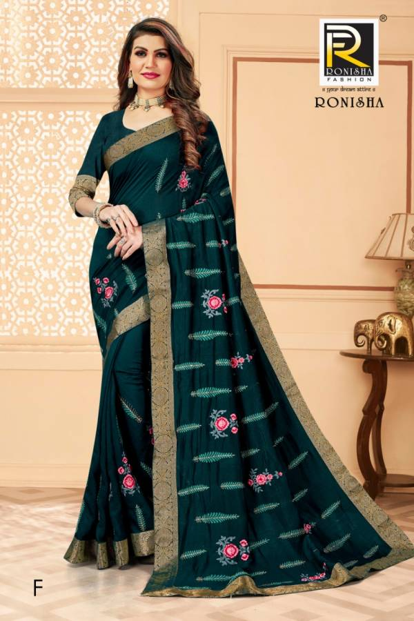 Ronisha Media Latest Fancy Designer Festive Wear Vichitra Silk Embroidery Worked Designer Saree Collection