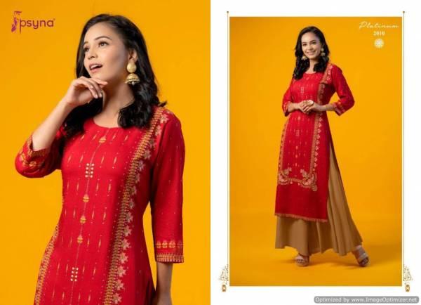 Psyna Platinum 2 Latest fancy Designer Ethnic Wear Heavy Rayon Gold Printed Kurti Collection
