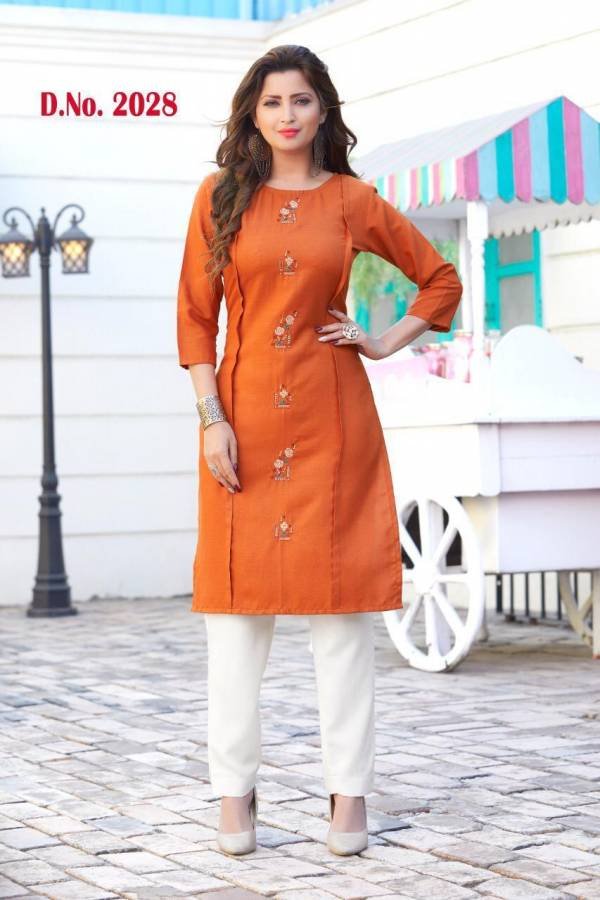 Ruby vol 1 Cotton Daily Wear Embroidery Work Long Kurtis Collections