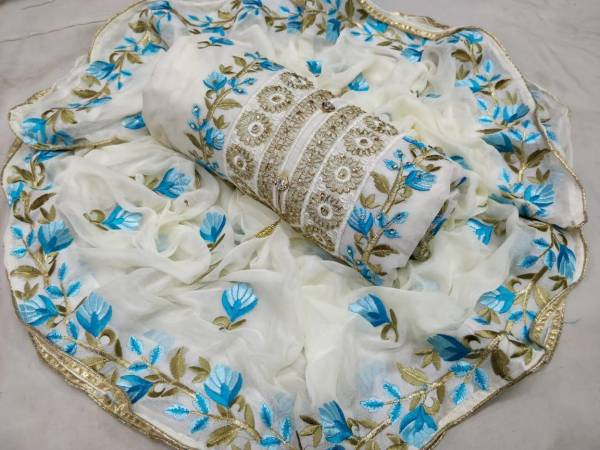 Chanderi Exclusive Designer Embroidered Dress Material With Najmin Embroidery Worked Four Sided Bordered Dupatta