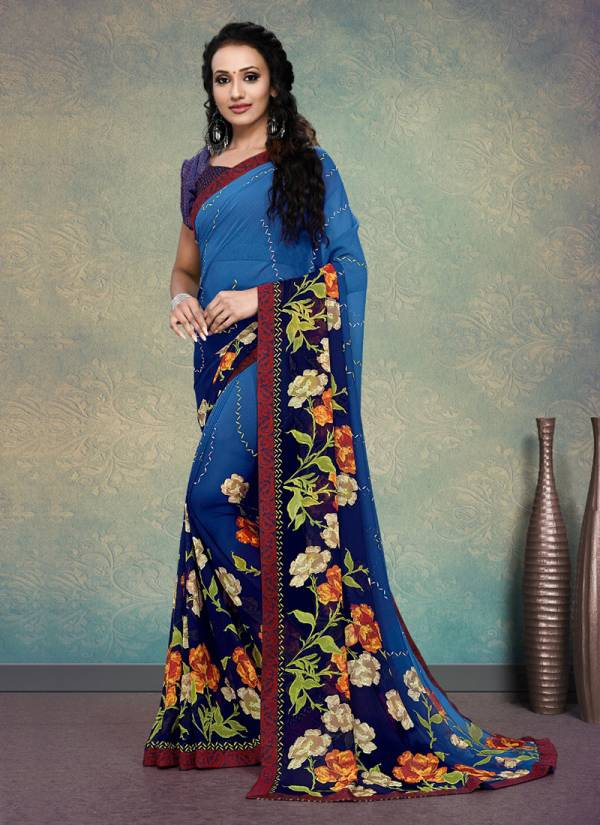 Desire Weightless Fancy Border And Printed Casual Party Wear Sarees 1992-1999