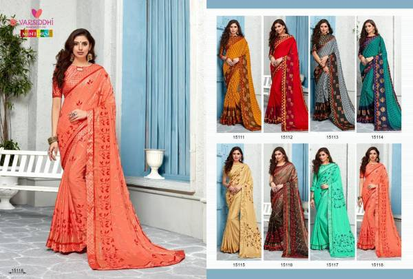 Jalkhi Varsiddhi Cadbury Chiffon Silk With Same Blouse Party Wear Designer Printed Saree's Collections