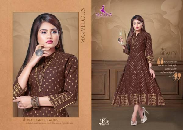 Mayra Kia 3 Latest Designer Party Wear Rayon Long Printed Kurti Collection