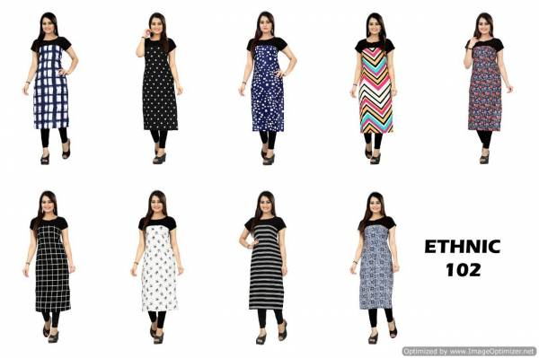 Latest Printed Casual Wear Crape Kurties Collection