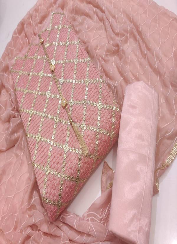 New Launch Of Designer Chanderi Dress Material With Nazneen Karachi Work Dupatta