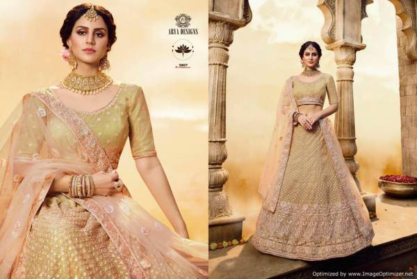 Arya Vastrey 2 Lehenga with Heavy Crape Silk Inner Multi Embroidery Work and Soft Net Dupatta Bridal Lehenga Colection