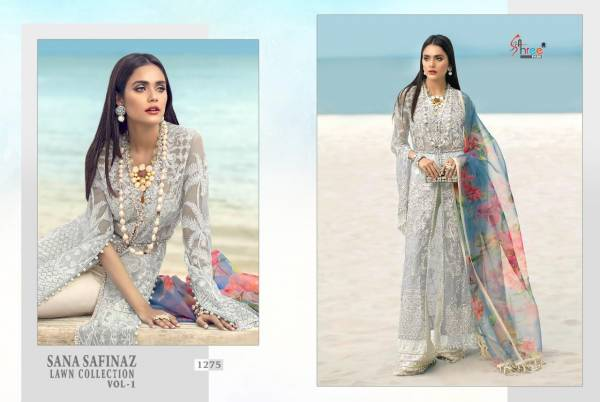 Shree Fab Sana Safinaz Lawn Collection Vol 1 Latest Heavy Designed Pakistani Salwar Suit Collection Butterfly Net With Heavy Embroidery Work And Chiffon Printed Dupatta