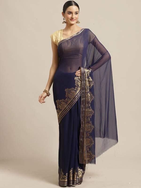 Latest Designer Fancy Plain Saree With Beautiful Designer Border Saree  Collection
