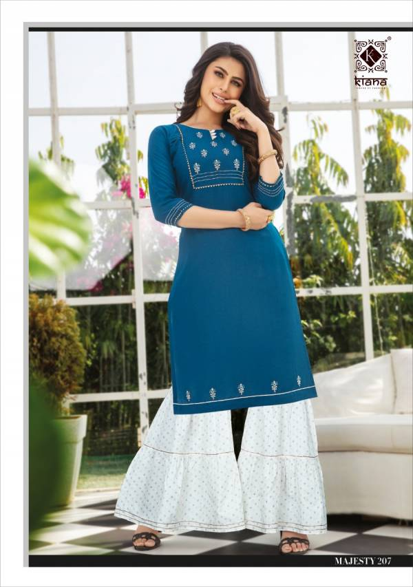 Kiana Majesty Viscose Latesty fancy Designer Ethnic Wear Viscose Kurti With Bottom Collection