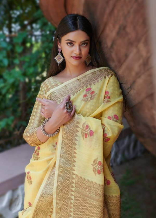 Rajyog Swaruchi Latest Fancy Designer Casual Wear Silk Soft Linen Saree Collection