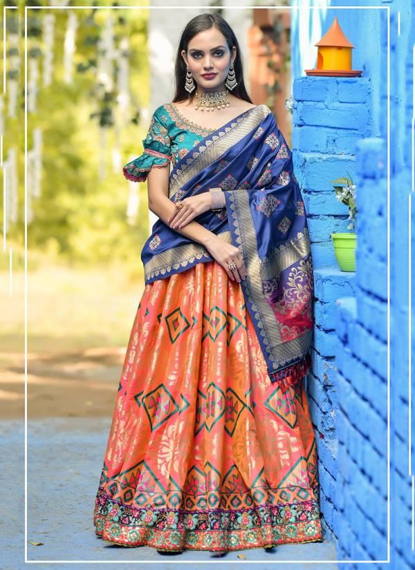 Heavy Designer Latest Resham Work Banarasi Silk Party Wear Lehenga Choli Collection