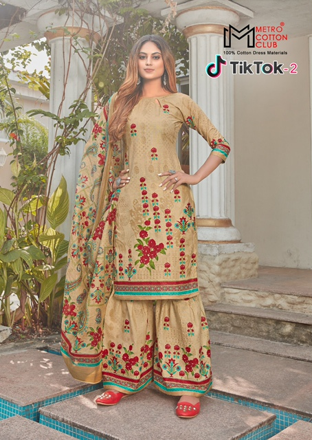 Metro Tik Tok 2 Exclusive Designer Pure Cotton Printed Latest Dress Material Collection