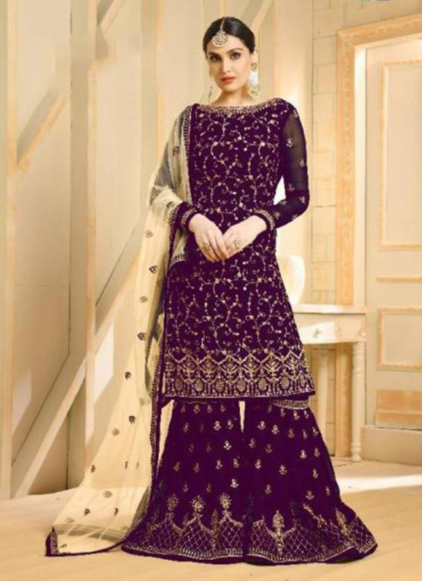 Ghunghat NX Faux Georgette Wedding Designer Party Wear Embroidered Sharara suit Collection