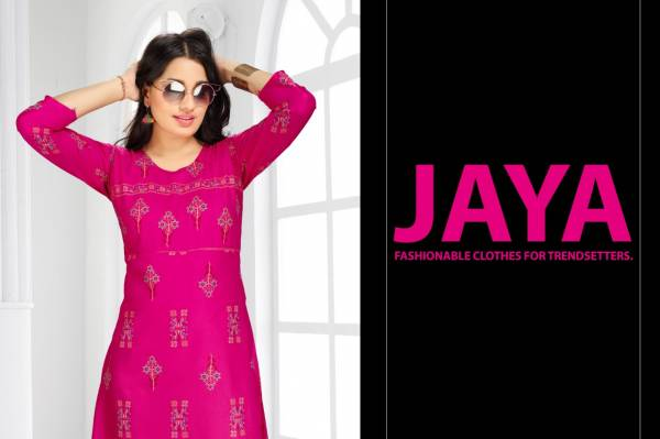 Ft Jaya Rayon Latest Fancy Designer Casual Ethnic Wear Gold Printed Long Kurtis Collection