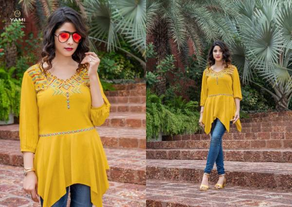 Yami Fashion Bold 2 Rayon Tops with Embroidery Designer Tops Collections