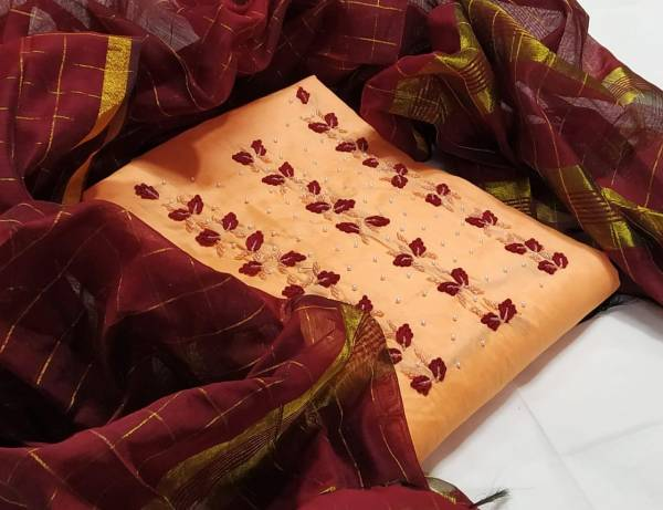 New Dress Material Collection Have Chanderi Handwork With Chanderi Chex Dupatta
