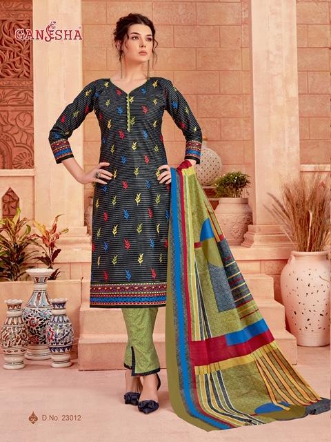 Ganesha Print 23 Latest Designer Printed Cotton Dress Material Collection