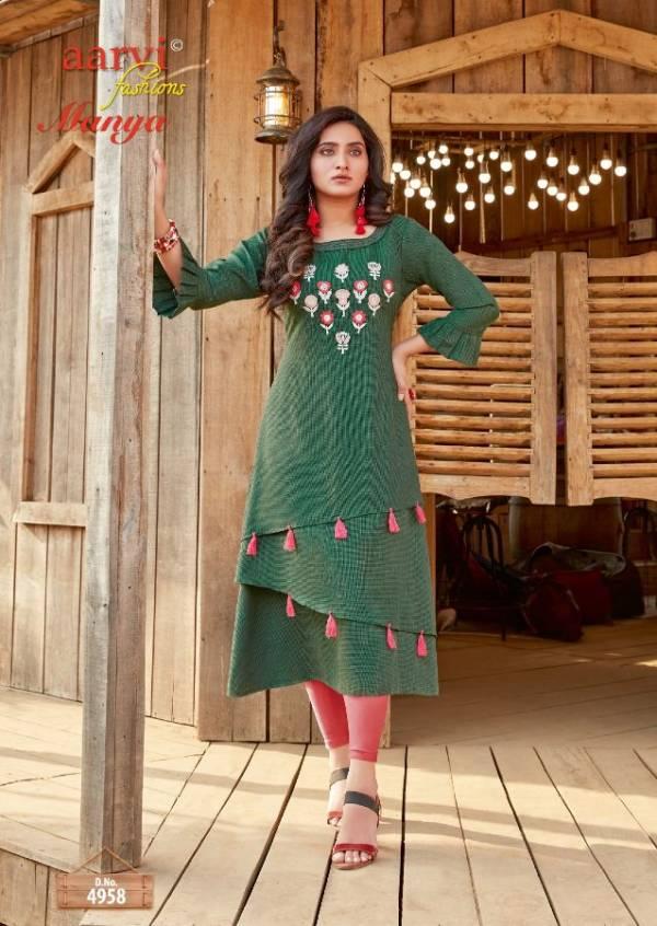 Aarvi Manya 24 Latest Fancy Designer Ethnic Wear Luxury Pure Rayon Cotton Kurtis Collection