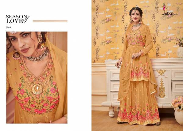 Now Volume Shehzadi  - 1 Designer Wedding And Party Wear Georgette Top With Embroidery Sontoon Inner Nazmin Dupatta With Lace And Georgette Plazzo With Sontoon Inner With Hevey Emboidery
