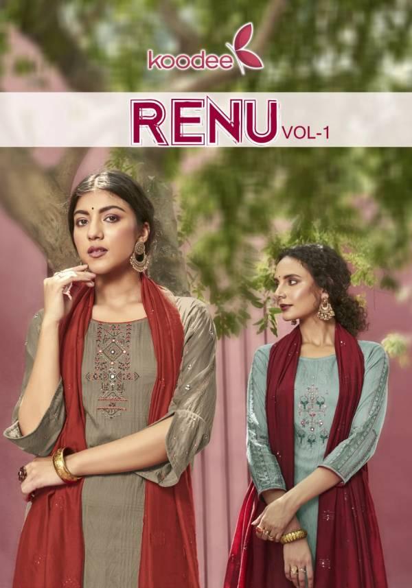 Koodee Renu 1 Festive Wear Designer Latest Fancy Viscose Stripe Pattern With Khatli Work Readymade Collection