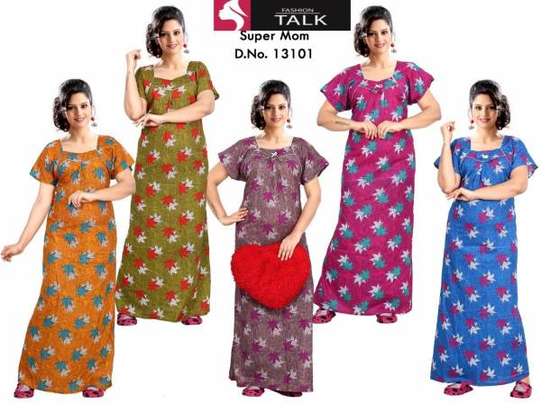 Ft 13101 Latest Collection Of Printed Pure Cotton Night Wear Gown