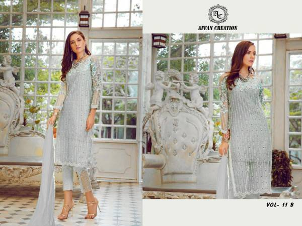 Affan Creation Vol 11 Latest Designer Pakistani Salwar Suit Collection With Heavy Butterfly Embroidery Cotton  Dhaga Work With Sequence  Diamond And Hand Mirror Work