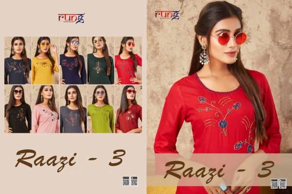 Rung Razzi 3 Latest Designer Party Wear Festive Wear Straight Line Embroidery Work Kurtis Collection
