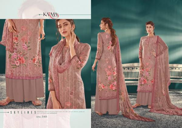 Karma Inayat 340 Series Georgette Embroidered Designer Dress Material
