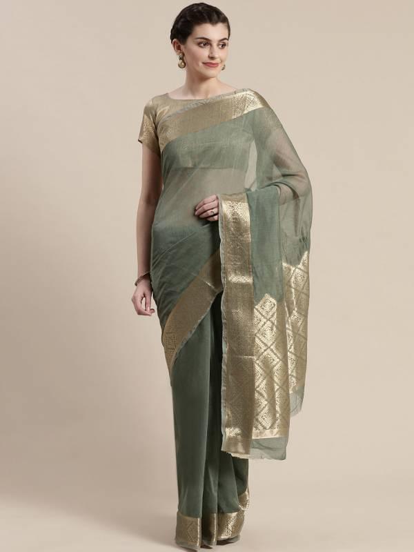 Sidnaz 2 Linen Blend Festive Wear Georgette Saree