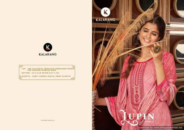 Kalarang Lupin 2 Jam Silk Cotton Designer Dress Material