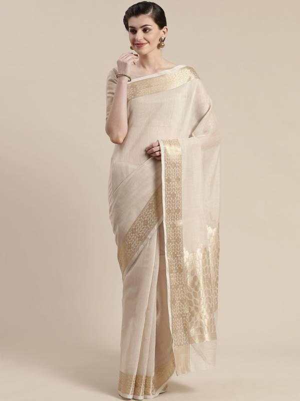 Sidnaz 3 Linen Blend Festive Wear Floral Saree
