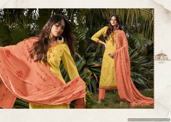 Kessi Taj 2 Jam Silk Embroidered Designer Dress Material