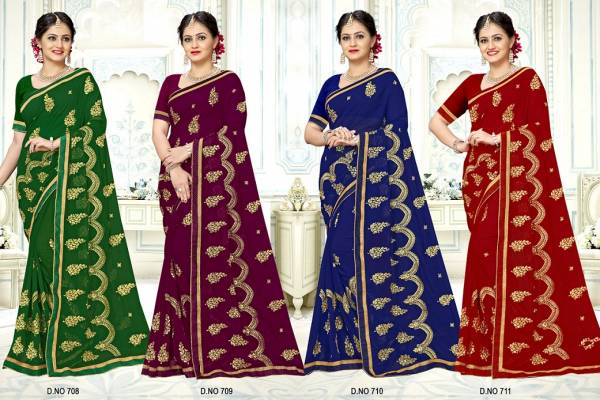 Kalista Damini Festive Wear Georgette Saree Collection