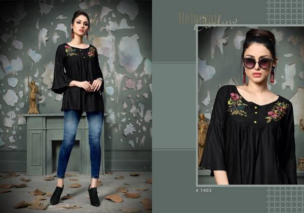Dwija Heer Rayon Casual Wear Western Top Collection