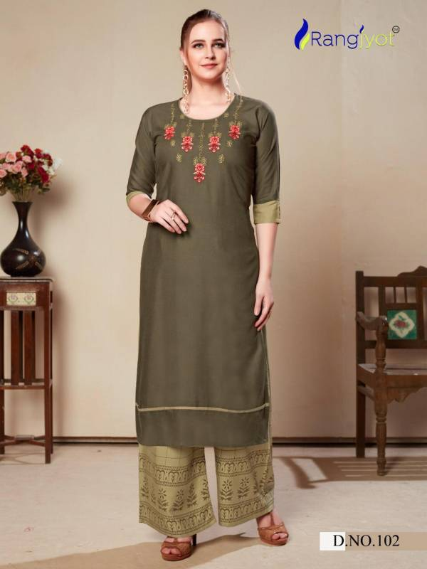 RANGJYOT MORIE VOL-1 Latest fancy Ethnic Wear Heavy rayon With embroidery work Kurtis Collection