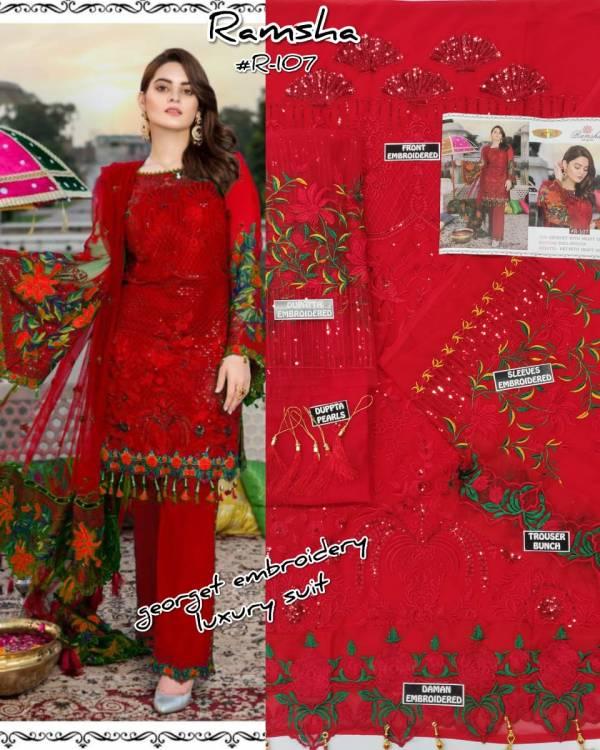 Ramsha R 107 Nx Festive Wear Heavy Georgette Pakistani Salwar Kameez Collection