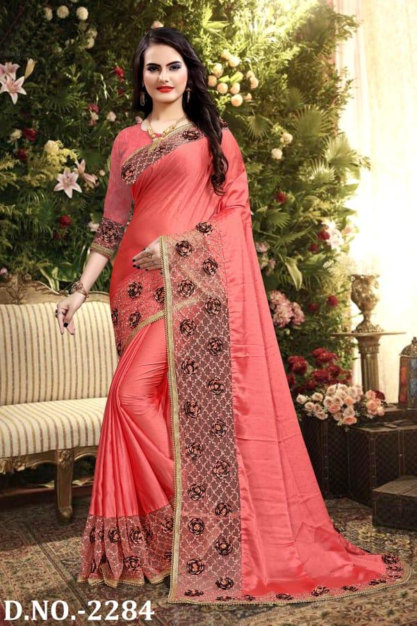 Naree Heavy Resham And Embroidery Work Beautiful Border And Flower