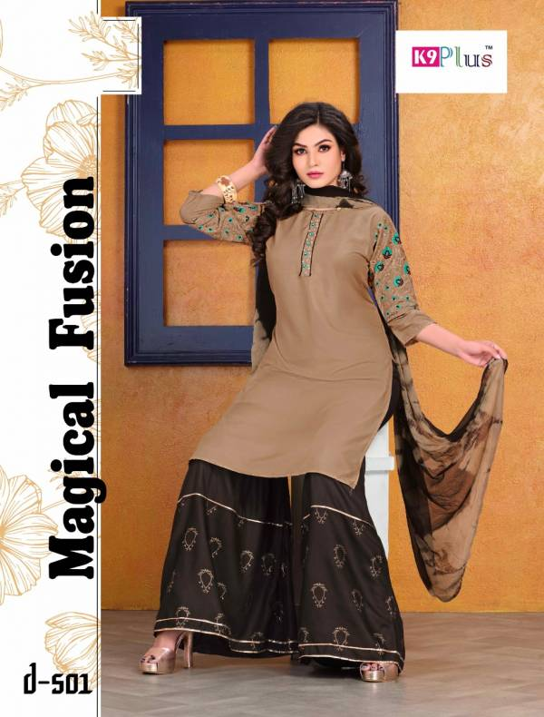 K9 Plus Akansha Latest Fancy Designer Ethnic Wear Heavy Rayon With Embroidery Work Readymade Sharara Suit Collection