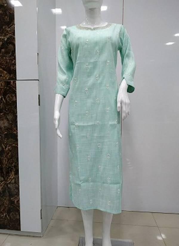 Latest Casual Wear Designer Machine Work And Hand Work Three Fourth Sleeves Kurtis Collection