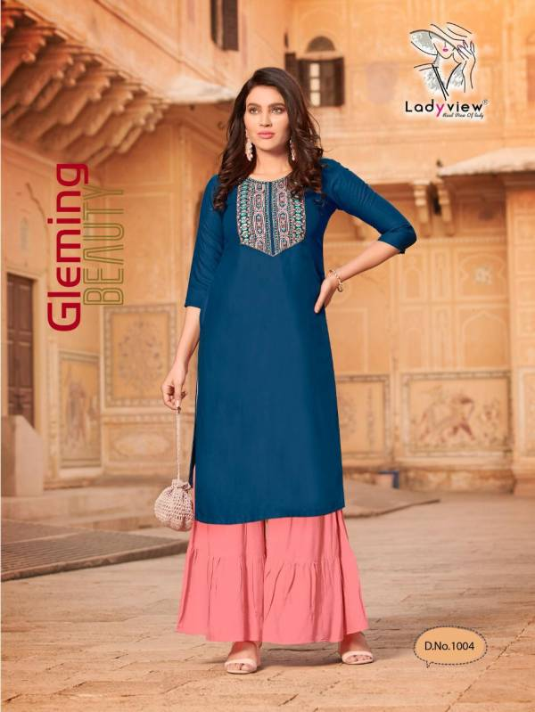 Ladyview Goriya 1 Latest  Rayon Printed Fancy Embroidery work Party Wear Kurti With Sharara Collection