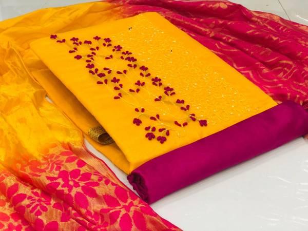 Latest Designer Festive Wear Chanderi Dress Material Collection