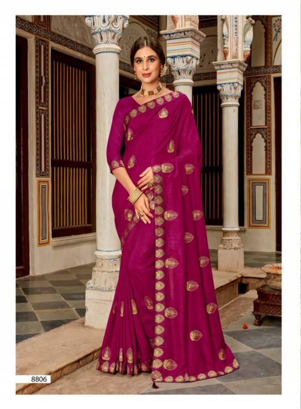 Kalista Super Hit Exclusive Wear Silk Embroidery Work Saree Collection
