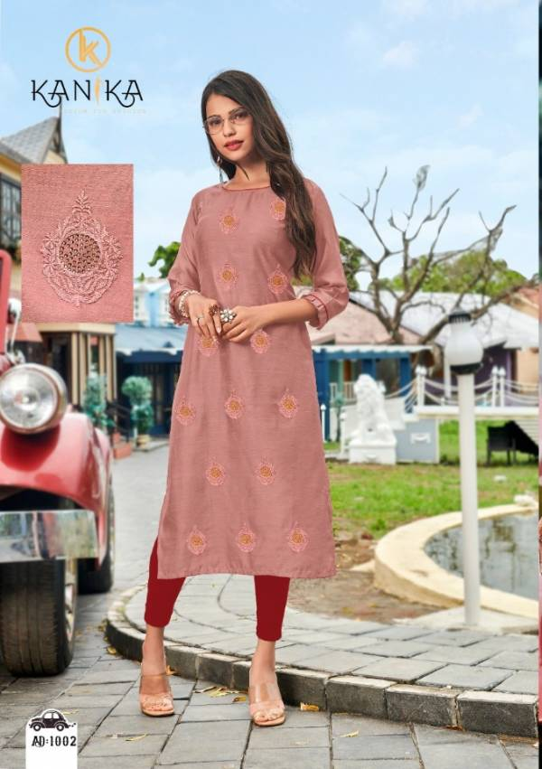 Kanika Adda Latest Designer Office Wear Straight Cut Kurtis Collection With Embroidery Work