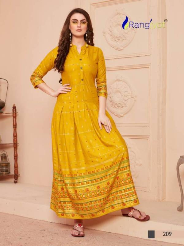 Rangjyot Sehnaaz 2 Launch Latest New Designer Party Wear Long Kurtis With Gold Print