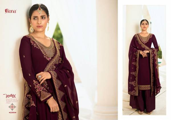 FIONA GULSAN Latest Wedding Wear Georgette Heavy Embroidery And stone Work Top with Dupatta Salwar Suits Collection
